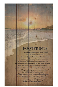 Wood Pallet with Footprints in the sand poem